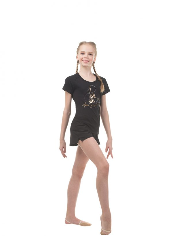 "RG648.02 ""Golden gymnast girl with a ribbon"" scoop neck raglan t-shirt"